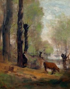 Peasant Woman Watering Her Cow