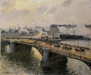The Pont Boieldieu , Rouen: Sunset, Misty Weather