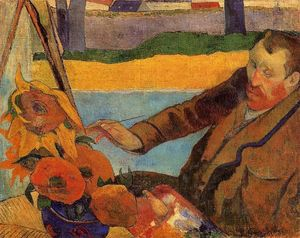 Portrait of Vincent van Gogh Painting Sunflowers (also known as Villa Rotunda by Emma Ciardi)