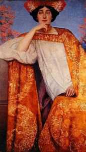 Portrait of a Woman in a Golden Dress