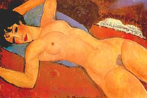 Reclining Nude on a Blue Cushion (also known as Red Nude)