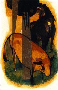 красный и желтый Корова ( известно также, как черные коричневый конь и желтый Корова )