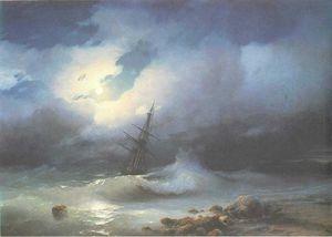 Rough sea at night.