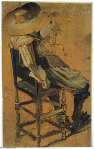 Homme assis avec une épée