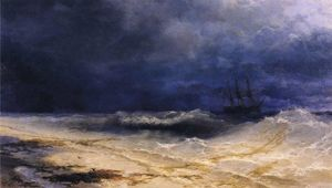 Ship in a Stormy Sea off the Coast