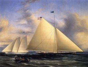 The Sloop 'Maria' Racing the Schooner Yacht 'America,' May 1851