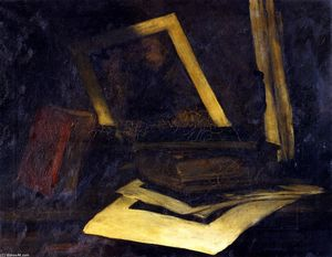 Still LIfe Etching and Book (also known as The Wind Mill Etching)