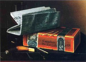 Still Life with Cigar, Pipe, New York Herald and Wiine Glass