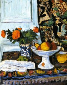 Still LIfe with Fruit and Marigolds in a Chinese Vase