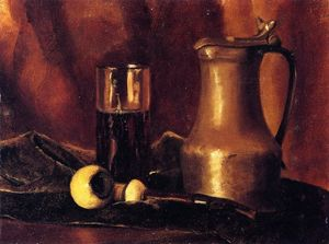 Still Life with Tin Pitcher, Pipe and Glass
