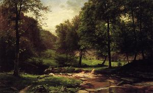 Stream with Field and Grazing Cattle