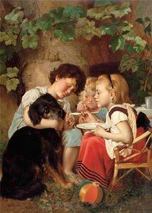 drei kinder abfütternd Hund