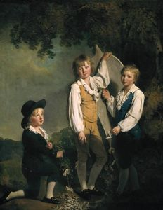 Three Children of Richard Arkwright with a Kite