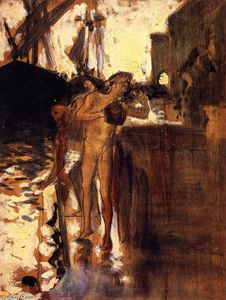 Two Nude Figures Standing on a Wharf