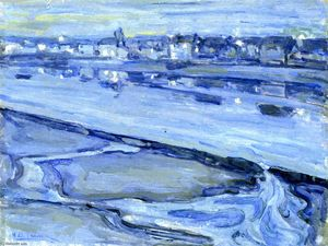 Untitled (also known as Dusk Scene of a Flooded River and Nearby Town)