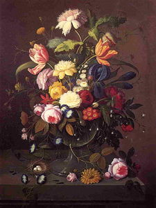 Vase of Flowers in Footed Glass Bowl with Bird's Nest