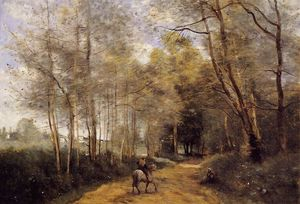 Ville d'Avray - Horseman at the Entrance of the Forest