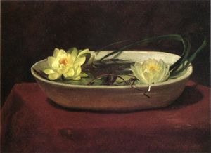 Water-Lilies には 白 ボウル - 赤と テーブル カバー