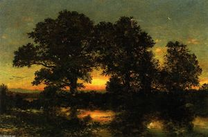 Wooded Landscape with Sunset
