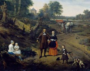 Portrait of a couple with two children and a nursemaid in a landscape (detail)