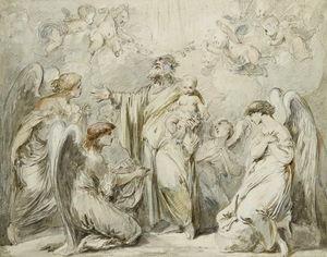 Saint Joseph Tenant L'enfant Jesus Adore Par Des Anges