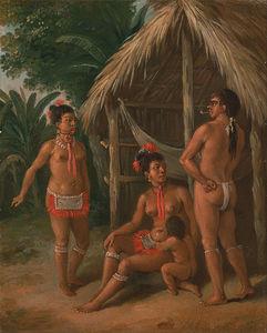 A Leeward Islands Carib Family Outside A Hut