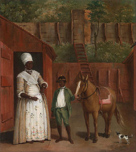 A Mother With Her Son And A Pony