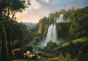The Cascades At Tivoli With The Temple Of Sibyl And A Shepherdess In The Foreground