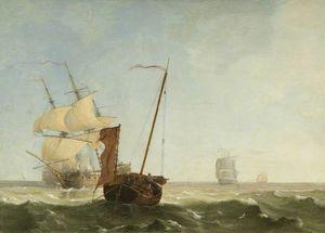 Sea Piece With War Vessels