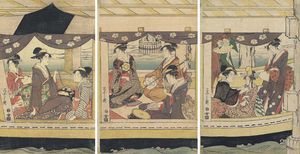 A Group Of Courtesans And Kamuro In A Large Boat Playing On Drums And On The Shamisen