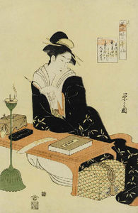 Portrait Of A Beauty Seated At A Desk