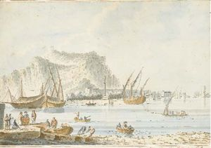 View The Port Of Palermo, The Coast Of Termini With Water On A Hill The Substance Of Figures And Boats In The Foreground