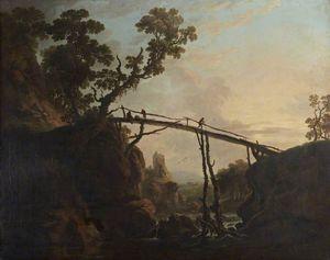 A River Landscape With A Wooden Bridge