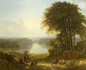 美景 里士满 有两个 牧羊人 和绵羊 上 道路