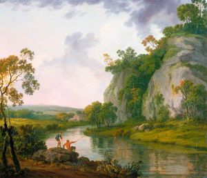 Landscape With Two Boys Fishing, Evening