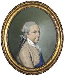 porträt eines herrn , Half-length , in einem braunen mantel mit blue Weste