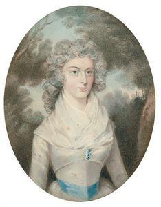 bildnis einer dame in einem weißen kleid mit ein Blau Schieberahmen , in einer landschaft