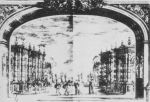 View Of Proscenium Arch And Stage Decor For The Play Mirame