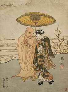 Дарума а также     молодой  Женщина  в  тем  дождь
