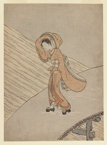 Young Girl Crossing A Bridge After Snow Calendar Year Of The Second Year Of Meiwa