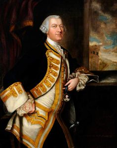 Portrait Of An Unknown Gentleman In A White Waistcoat And Dark Blue Coat With Gold Braid
