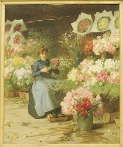 Flower Seller In Front Of The Madeleine Church