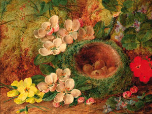 A Bird's Nest With Apple Blossom And Primulas On A Mossy Bank