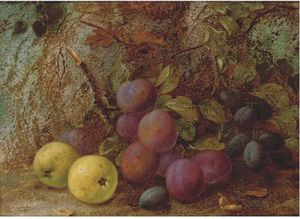 Plums, Damsons And Apples, On A Mossy Bank