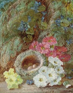 Primroses And A Bird's Nest On A Mossy Bank