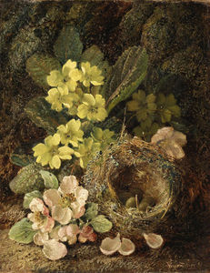 Primroses And Bird's Nest On A Mossy Bank