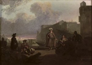 An Italianate Harbour With Merchants Conversing On A Quay