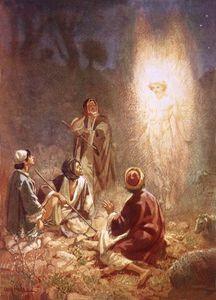 Un ángel anunciando a los pastores de Belén