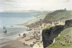 Hastings, From The East Cliff, From 'a Voyage Around Great Britain Undertaken