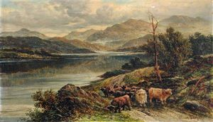 Loch With Highland Cattle